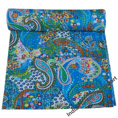 Indian Paisley Print Kantha Quilts Blankets king and Twin size Christmas gifts Bohemian Bedding Bed cover Bedspread Bohemian Bedspread Boho Bohemian Quilt, Bohemian Bedding, Floral Bedspread, Floral Quilts, Indian Quilt, Indian Blankets, Cotton Quilts, Cotton Fabric, Quilted Throw Blanket