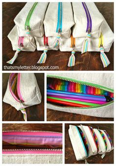 Sew: boxy pencil pouches Easy to sew boxy drop cloth canvas pencil pouches with rainbow print lining and rainbow colored zippers. These pencil pouches are [. Sewing Hacks, Sewing Tutorials, Sewing Crafts, Sewing Projects, Sewing Patterns, Sewing Tips, Sewing Box, Diy Projects, Pencil Bags