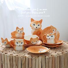 2015 new Foreign little fox ceramic home decoration porcelain ornaments Healing Cute Tea Cups, Fox Crafts, Fox Home, Ideas Prácticas, Fox Decor, Little Fox, Fox Art, Cute Fox, Home Decor Accessories