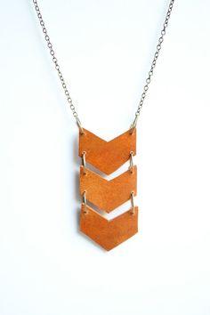 Geometric Leather Tan Triple Chevron Necklace  by shoprarebird, $34.00