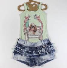 Resultado de imagem para conjunto de short e blusa infantil