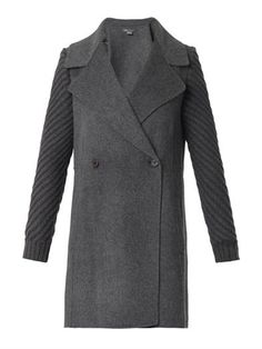 Knitted-sleeeve double-faced wool coat | Vince | MATCHESFASHIO...