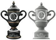 The Custom Cup Golf Trophyis great for featuring your logo large on the trophy with two imprint areas available: base and cup-body. Handcrafted ceramic with removable lid and comes in standard 1st, 2nd and 3rd sizes. Available in two color options. Price includes sand carved logo and text.