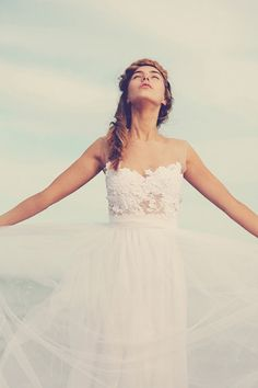 Dreamy sheer neck wedding dress with stunning soft tulle skirt and sheer lace detailing