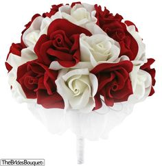 Red and Ivory Silk Rose Hand Tie (2 Dozen Roses) - Bridal Wedding Bouquet