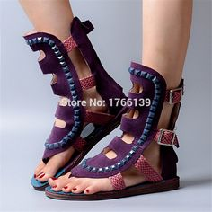 92.40$  Buy now - http://ali7pi.worldwells.pw/go.php?t=32787013606 - Designer Women Suede Hollow Out Gladiator Sandals Casual Flat Shoes Rivets Summer Beach Flip Flops Sandalias Mujer Flats 92.40$