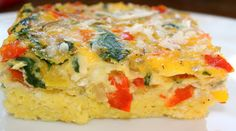 Recipe for Egg Vegetable Casserole | Two Peas & Their Pod -- 18 eggs Splash of skim milk Salt and pepper to taste Spike seasoning Olive oil 1/2 red pepper, diced 1/2 yellow pepper, diced 1/2 red onion, diced 1 cup of fresh spinach, chopped 3 Roma tomatoes, diced 1 cup mozzarella cheese, shredded Parmesan cheese, shredded