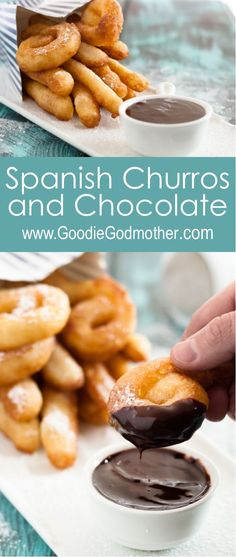 Spanish churros and chocolate are a common snack or even breakfast in Spain This recipe - inspired by a trip to visit family - is a surprisingly easy Spanish treat Recipe on Chocolate Recipes, Chocolate Churros, Spanish Chocolate, Köstliche Desserts, Delicious Desserts, Dessert Recipes, Cake Recipes, Easy Spanish Recipes, Gastronomia