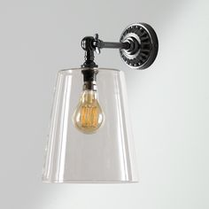 hazel wall light in clear glass with rose wall light fitting in antiqued bronze Wall Light Fittings, Glass Wall Lights, Rose Wall, Glass Pendants, Clear Glass, Sconces, Bulb, Bronze, Lighting
