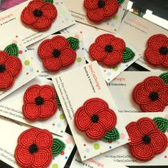 What started as a simple request for a beaded poppy brooch for Remembrance Day, turned into one my best sellers! Flower Embroidery Designs, Beaded Embroidery, Loom Patterns, Beading Patterns, Poppy Pins, Poppy Brooches, Beadwork Designs, Native Beadwork, Poppy Pattern