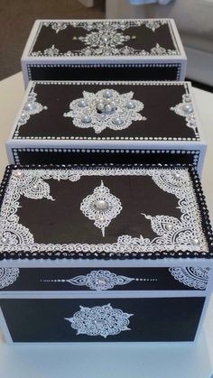 A Three Piece Set of Custom Jewelry Boxes For a Clients Mendhi Celebrations…