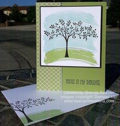 Here's a quick and easy card showing an easy way to create a watercolor wash look using the Work of Art stamp set from Stampin' Up!
