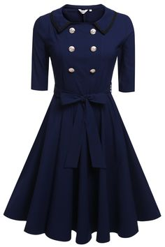 ANGVNS Women's Vintage 1950s Style 3/4 Sleeve Black Flare A-line Dress With Button(Size L, Blue): Amazon Fashion