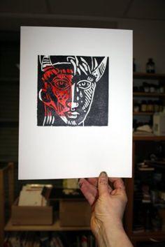 Ein Schwarm von Dämonen - Linolschnitt von Susanne Haun