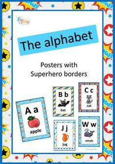 Superhero Alphabet Posters #alphabetposters #superherothemedecor #printablealphabet Superhero Alphabet, Alphabet Posters, Kindergarten Writing, Kindergarten Activities, Preschool, Learning Resources, Teacher Resources, Language Study, English Language
