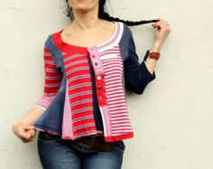 Striped polo's  recycled blouse