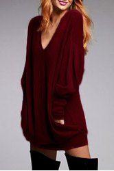 Stylish Plunging Neck Long Sleeve Solid Color Pocket Design Dress For Women (WINE RED,L) | Sammydress.com Mobile
