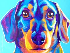 Colorful Pet Portrait Dachshund Dog Art Print, DawgArt, FREE SHIPPING