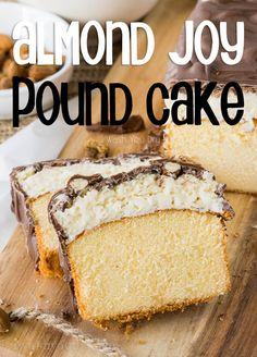 """I'm in love with this Super Easy Almond Joy Pound Cake! Rich and buttery pound cake topped with a thick layer of coconut goodness, a few """"joyous"""" almonds and a hefty drizzle of chocolate – what's … Chocolate Almond Bark, Chocolate Candy Melts, Chocolate Pound Cake, Easy Desserts, Delicious Desserts, Romantic Desserts, Coconut Desserts, Cake Recipes, Dessert Recipes"""