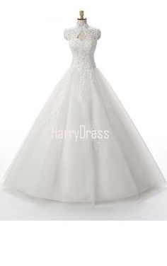Ball Gown High Neck Tulle Floor Length Appliques Lace White Noble Wedding Dress