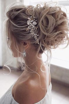 hottest bridesmaids hairstyles ideas elegant curly high updo with glamorous accessorie tonyastylist #hairstylesideas