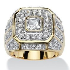 Cubic Zirconia Jewelry Goldplated Men's 2 Square-cut and Round Cubic Zirconia Octagon Grid Ring (Size: Yellow, Palm Beach Jewelry - Palm Beach Jewelry, Cubic Zirconia Rings, Ring Set, Fashion Rings, Fashion Men, Sterling Silver Jewelry, Silver Ring, Topaz Jewelry, 925 Silver