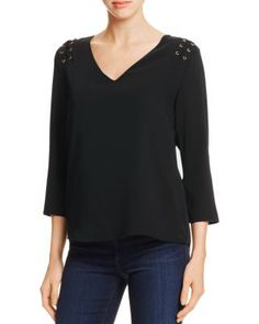 d6e4b0b6 Cooper & Ella Adel Lace-Up Blouse Women - Tops - Bloomingdale's. Long Sleeve  ...