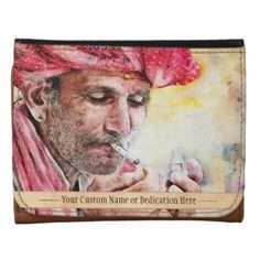 #Cool Mr. #Smoker #vintage #watercolour #portrait #art Small #Leather #Wallet with #Custom #Name or #Dedication #painting #gift #people #old #smoking #cigar #man