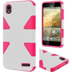 ZTE Warp Elite Hard Cover and Silicone Protective Case - Hybrid Triangle White/ Hot Pink 1