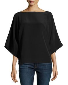 Wide-Neck Kimono Tunic, Black  by Michael Kors at Neiman Marcus.