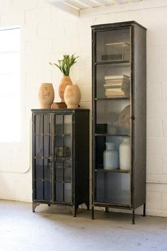 """CABINET SHOWN IS THE TALLER ONE PICTURED ON THE RIGHT. THE SHORTER ONE IS LISTED SEPARATELY. Product Dimensions: 20"""" x 16"""" x 85""""t"""