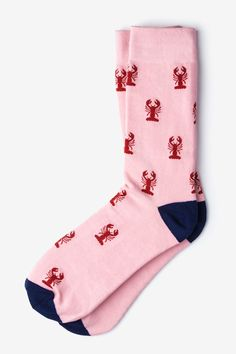 Men's Pink with Red Lobsters Nautical Novelty Crew Dress Socks: Get your seafood fix with our Lobsters socks. These crustacean-laden socks feature red lobsters atop a pink background and navy heelturn. Funky Socks, Crazy Socks, Cute Socks, Silly Socks, Boys Socks, Men's Socks, Unique Socks, Basketball Socks, Basketball Uniforms