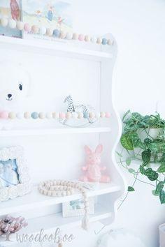 Large nursery shelf with garland/nursery shelves/beads shelf/white floating shelf/kids wall shelf/shabby chic shelf/shelves for nursery Kids Wall Shelves, Nursery Shelves, Large Shelves, Wooden Shelves, White Floating Shelves, White Shelves, Black Bedroom Furniture, Home Decor Bedroom, Shabby Chic Shelves