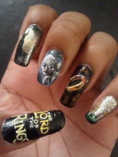 Mordor lord of the rings lotr nails nail art acrylic painting lord of the rings nails prinsesfo Images