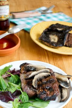 Grilled Portobello Mushrooms with Roasted Garlic Infused Red Wine Vinegar - Get the recipe at COOKtheSTORY.com