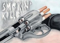 Cigarette Smoking Painting - Smoking Kills by Eniko Tanyi Smoke Drawing, Smoke Painting, Pencil Art Drawings, Cool Art Drawings, Cigarrete Smoke, Anti Smoking Poster, Cigarette Drawing, Anti Tobacco, Decay Art