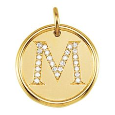 Diamond Initial Pendant in 14k Yellow Gold, Letter M