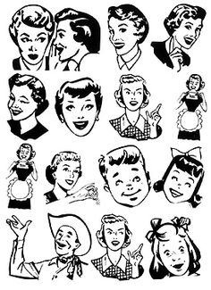 Unmounted Rubber Stamps Retro Vintage Style Folks 14 Designs - Unmounted Rubber Stamps Retro Vintage Style Folks 14 Designs 14 handy, helpful, and sparkling clean retro folks to add to your neighborhood in beautiful detail! Ours exclusivel Retro Images, Vintage Images, Vintage Designs, Retro Kunst, Retro Art, Typographic Poster, Art Sites, Vintage Ads, Vintage Clip Art