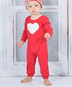 Red & White Rosette Heart Playsuit - Infant by Truffles Ruffles #zulily #ad *so sweet