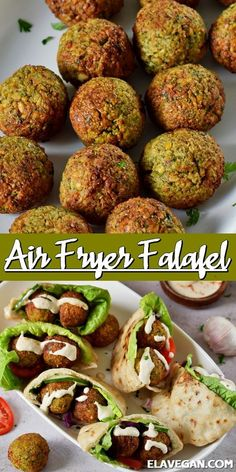 Enjoy this traditional falafel recipe with a twist; Ditch the deep-fryer and turn to your air fryer for these healthier, air fryer falafel with a tender center and crispy outer shell. This recipe is gluten-free, vegan, high-protein, and perfect for meal-prep! #airfryerfalafel #glutenfreefalafel #falafel #veganfalafel #falafelpita #elasrecipes | elavegan.com Veggie Recipes, Whole Food Recipes, Cooking Recipes, Healthy Recipes, Air Fryer Recipes Gluten Free, Air Fryer Recipes Vegetarian, High Protein Vegetarian Recipes, Ella Vegan, Air Frier Recipes
