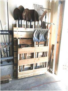 Storage Shed Organization, Diy Garage Storage, Garden Tool Storage, Garden Tools, Storage Hooks, Lumber Storage, Garden Sheds, Diy Hooks, Yard Tool Storage Ideas