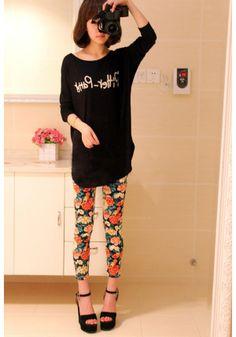 Popular Slim Fit Floral Print Skinny Leggings For Women (GRAY,ONE SIZE) | Sammydress.com