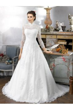 Ancient High Collar Cheongsam Neckline Long Lace Sleeves A-line Fitted Gorgeous Wedding Dresses