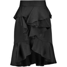 Balmain Ruffled satin skirt ($910) ❤ liked on Polyvore featuring skirts, black, balmain, ruffle skirt, satin skirt, knee high skirts and frill skirt