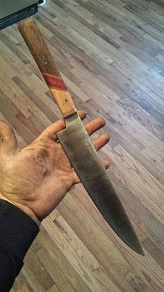 Hand Forged Nitro V Chefs knife almost finished. Rob Wayman Knives from Wolf Dog Forge