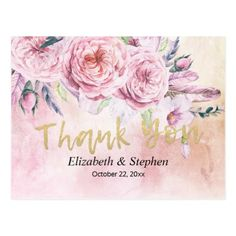 Wedding Thank You Watercolor Boho Floral Feathers Postcard - flowers floral flower design unique style