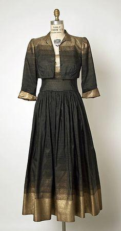 Evening ensemble Designer:Gilbert Adrian (American, Naugatuck, Connecticut 1903–1959 Hollywood, California) Date:1949–50 Culture:American Medium:silk, metallic thread