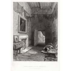 Challis for 'The Pictorial History of Scotland' by James Taylor DD, London Paper size 245 x 160 mm. Steel engraving 1859 Image size 125 x 166 mm Visit Edinburgh, Queen Mary, Scotland, Scene, History, Closet, Painting, Historia, Armoire