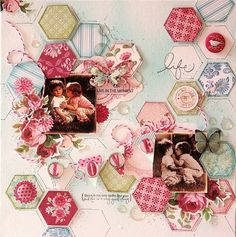 Tilda scrapbooking by Ana Paula Leal--beautiful painting and drawing on this page!