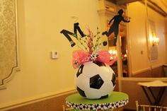 Soccer Ball Centerpiece for Marissa's Bat Mitzvah by Colshelly at Etsy Soccer Birthday Parties, Soccer Party, Soccer Ball, 12th Birthday, Play Soccer, Soccer Decor, Soccer Gifts, Soccer Centerpieces, Soccer Baby Showers
